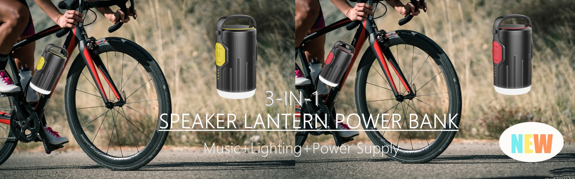 3 in 1 Camping Lantern Bluetooth Speaker with Power Bank 10400mAh